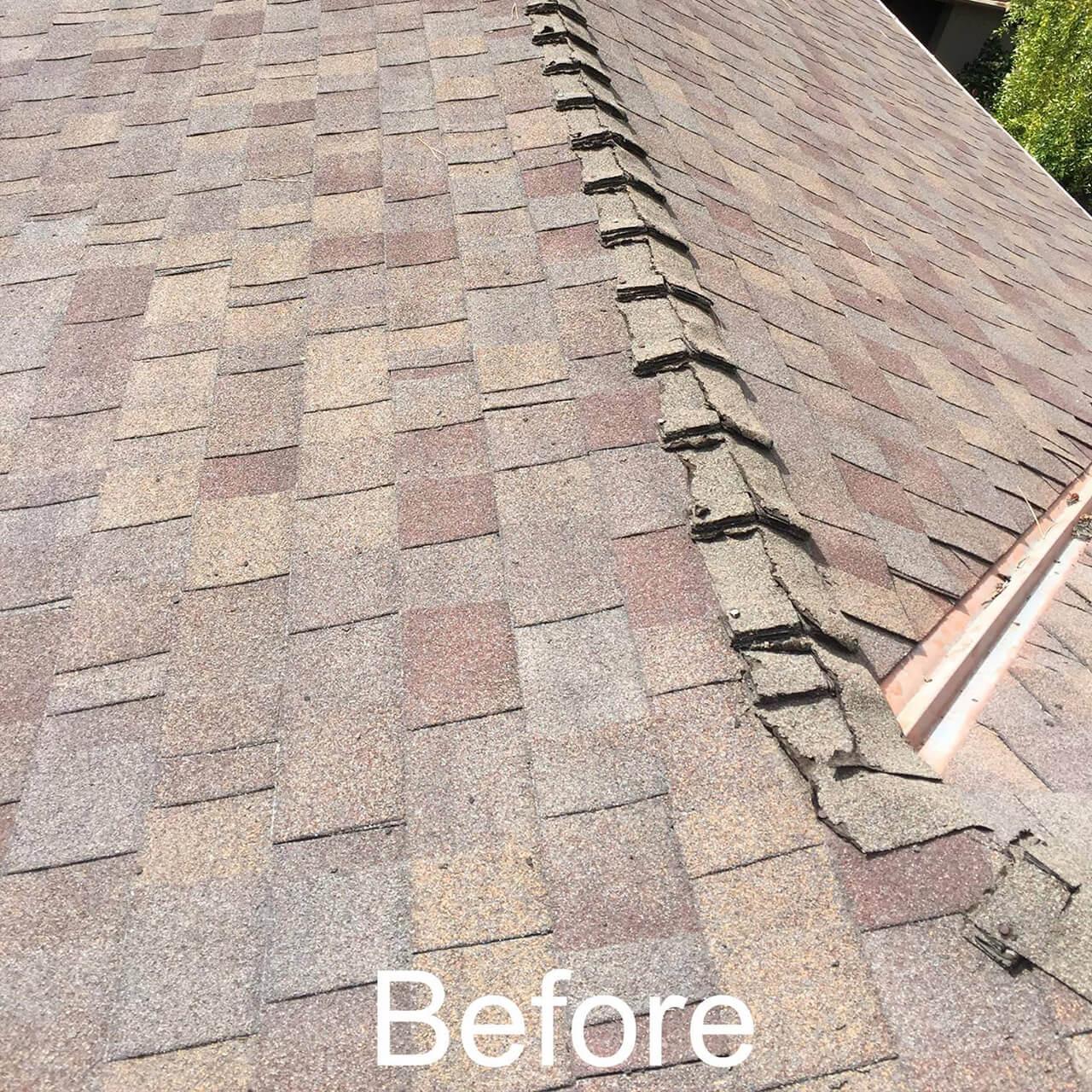 Before roof repair in San Jose