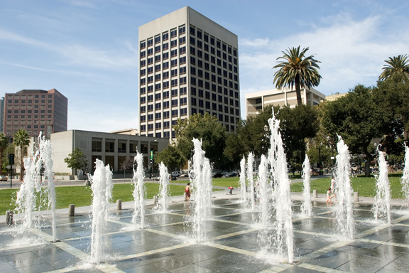 Caesar Chavez plaza and fountain in downtown San Jose