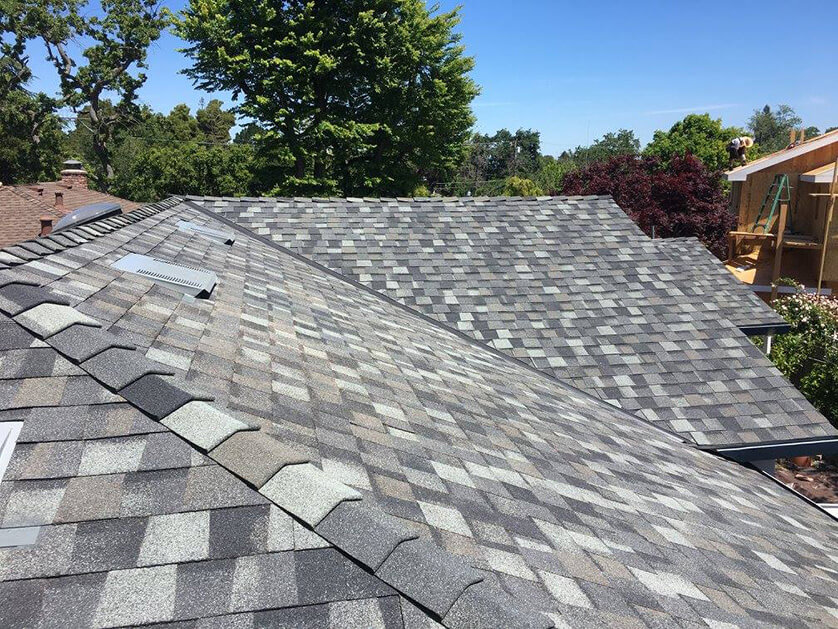 After a roof replacement in San Jose with a CertainTeed slate grey shingle roofing system
