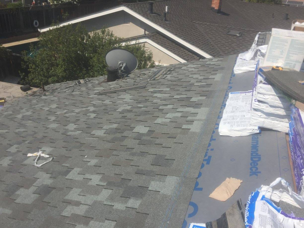 residential asphalt shingle reroofing service completed by Campbell Roofing roofing contractors in Morgan hill ca