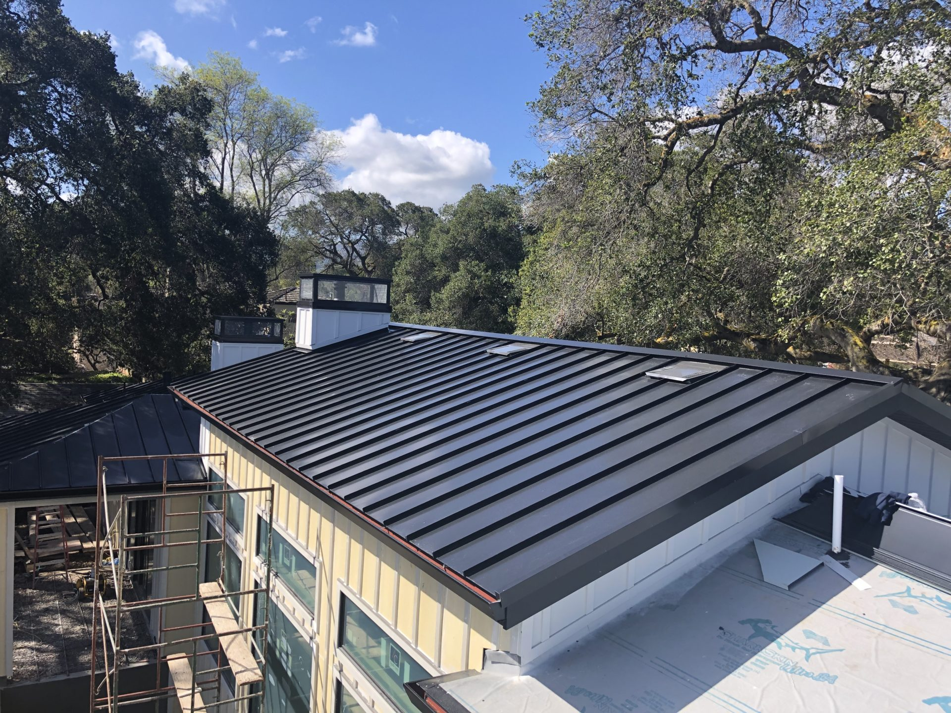 residential metal roof reroofing completed by professional roofers in morgan hill