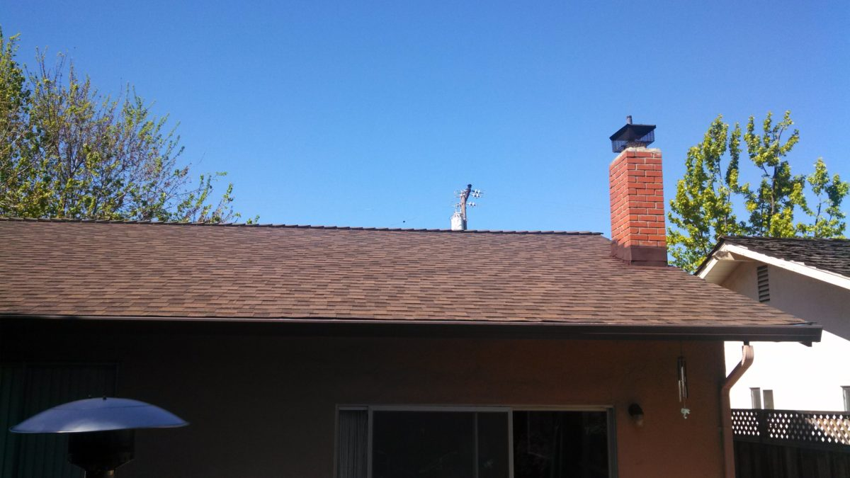 New brown shingle roof installed on a residential home in milpitas, California